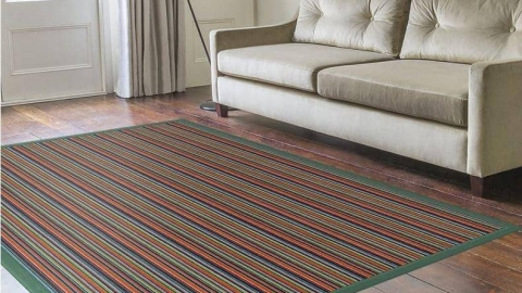 Bespoke striped rug living room
